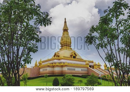 Chedi Maha Mongkol Bua, The Golden Pagoda Landmark Of Roi Et Province, Northeastern Thailand