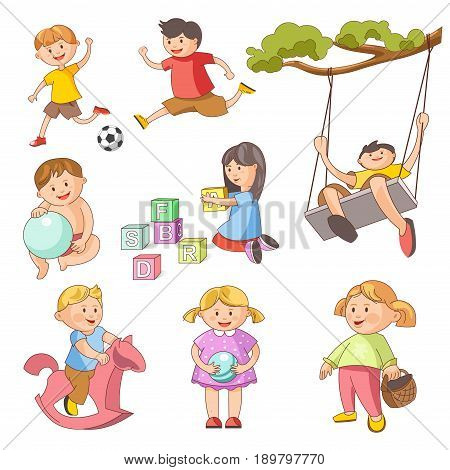 Children playing outdoor games. Young girl child with ball, on pony toy or ABC blocks, happy little boy kids play soccer football or swing. Vector isolated flat icons set