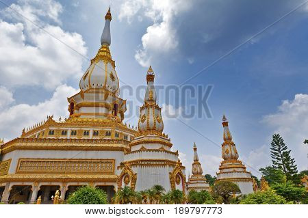 Phra Maha Chedi Chai Mongkol, A Highly-revered Pagoda Containing Relics Of Buddha, Located At Wat Ph