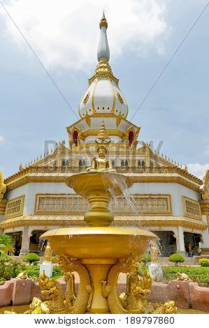 Buddha Image On Decorating Fountain In In Front Of Phra Maha Chedi Chai Mongkol, Wat Pha Namthip The
