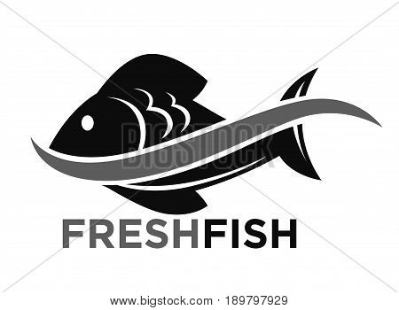 Fresh fish market promotional black and white logotype with wave that splits big scaly fish in half isolated flat vector illustration on white background. Seafood advertising monochrome emblem.