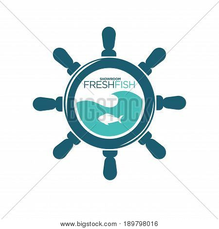 Fresh fish showroom emblem with small fish silhouette in blue water inside navy steering wheel and name sign isolated vector illustration on white background. Public place with fresh seafood logo.