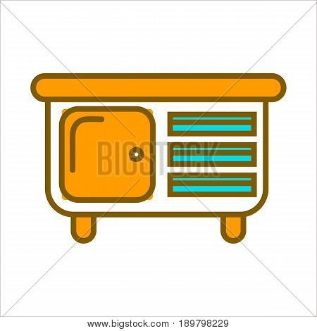 White commode with orange top, big door to spacious shelf and small blue drawers isolated cartoon vector illustration on white background. Convenient and functional furniture for nice interior design.