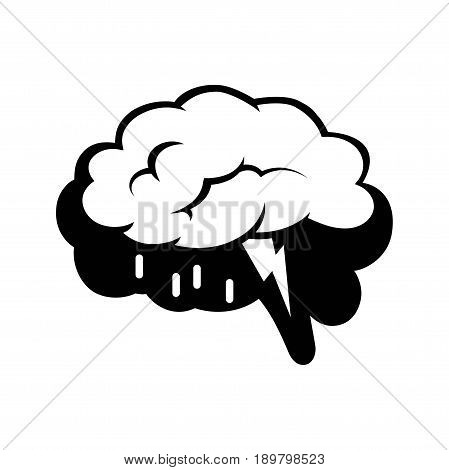 Logotype of human brain black silhouette and big rain cloud with small drops and lightning inside isolated vector illustration on white background. Metaphoric black and white creative emblem.
