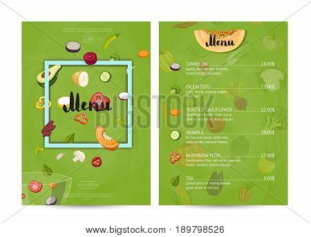 Vegetarian restaurant food menu design vector illustration. Vegan cafe menu, price catalog vegetarian nutrition, organic food shop, healthy diet retail. Menu card template with vegetable elements