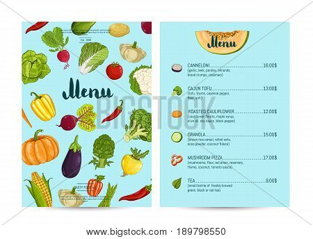 Vegan cafe food menu design vector illustration. Vegetarian restaurant menu, price catalog vegetarian nutrition, organic food shop, healthy diet retail. Menu card template with vegetable elements