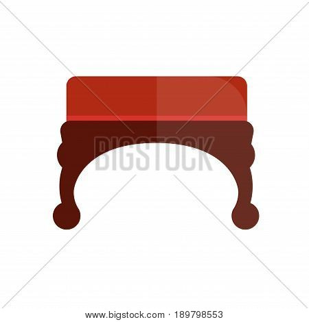 Vintage ottoman chair with red velvet upholstery and curved legs of dark wood isolated vector illustration on white. Bedroom antique expensive furniture for luxurious interior design and comfort.