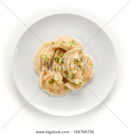 Dumplings - stuffed cheese noodles on white background