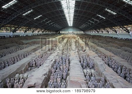Xian China May 28 2017 The world famous Pit 1 of the Terracotta Army part of the Mausoleum of the First Qin Emperor and a UNESCO World Heritage Site located in Xian China