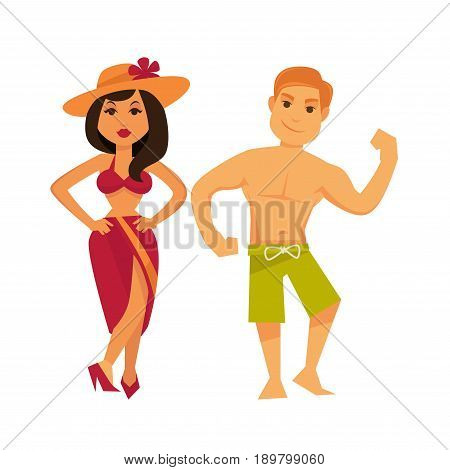 Standing woman and man showing his power with hand in swimsuits isolated on white. Vector colorful poster in flat design of couple ready for swimming or sunbathing. Summer vacation relaxation template
