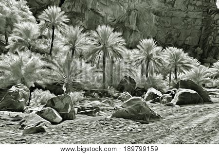 Painting of date palms grove in a rocky terrain in the moonlight
