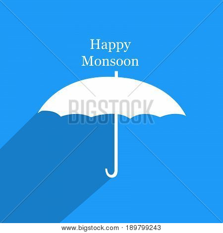 illustration of umbrella in white background with Happy Monsoon text