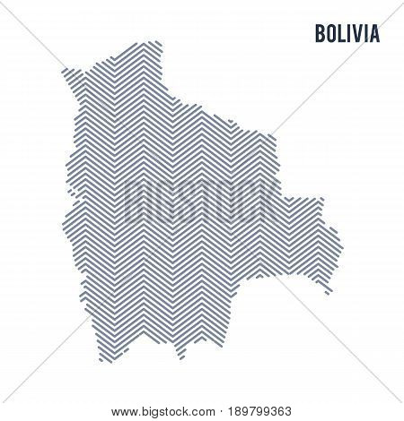 Vector Abstract Hatched Map Of Bolivia Isolated On A White Background.