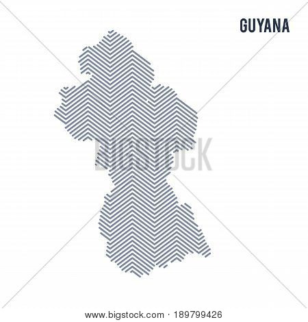 Vector Abstract Hatched Map Of Guyana Isolated On A White Background.