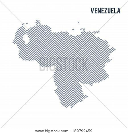 Vector Abstract Hatched Map Of Venezuela Isolated On A White Background.