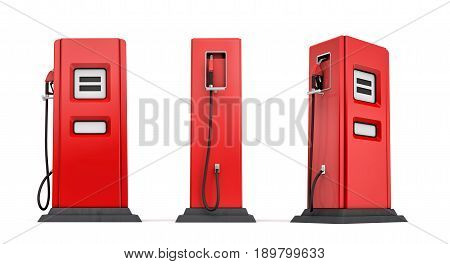 3d rendering of three red gas pumps in front, side and half side views isolated on white background. Fuel dispenser. Fill full tank. Road trip.