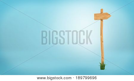 3d rendering of a wooden pole with some grass on it's base and blank arrow on the top. Directional signs. Outdoor advertisement. Signposts and arrows.