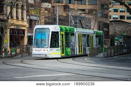 Melbourne, AUSTRALIA - August 22 2015: Melbourne Tram the iconic famous transportation in the town of Melbourne.