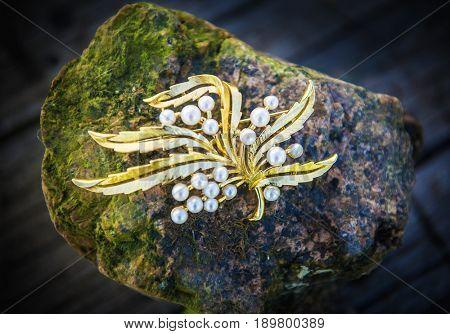 Vintage brooch. Close-up. Pearl.