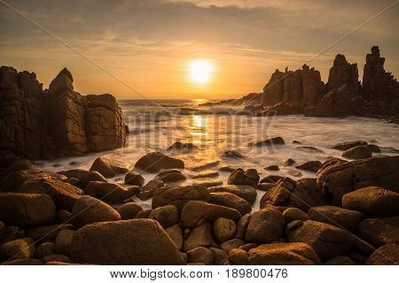 Sunset at the Pinnacles rock formation of Cape Woolamai, Phillip Island, Australia.