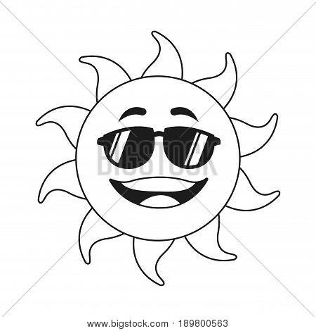 outlined sunny face smiling character icon vector illustration