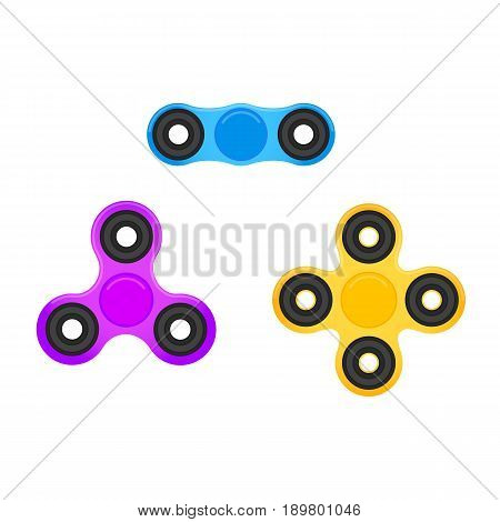 Fidget spinner. Hand spinners in trendy flat style. Stress relieving spinner toy