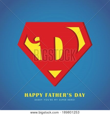 Happy Father's Day. Super Dad icon or symbol isolated on blue background. Vector illustration.