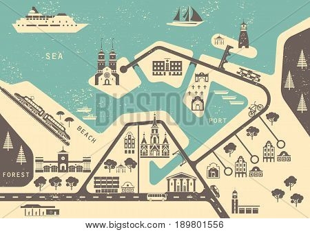 Vector scheme of nonexistent seaside town with various buildings bridges churches and transport. Template for vintage tourist map of resort city. Stencil graphics imprints.