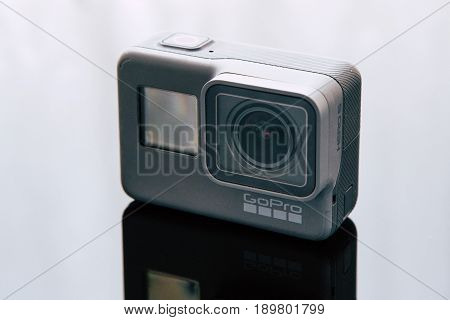 Kharkov, Ukraine - April 6, 2017: GoPro HERO 5 black edition digital action camera closeup. Compact gadget waterproof , support 4k video, voice controls and is often used in extreme photography
