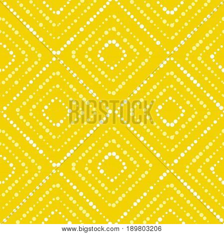 White and yellow paint dot setter concept summer seamless pattern.Modern dynamic abstract repeatable motif in summer sunny color. Vector illustration for surface design, fabric, wrapping paper, background.