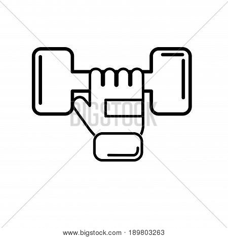 line dumbel with glove to do exercise vector illustration