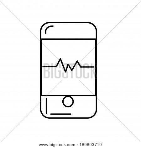 line technology smartphone with cardiac rhythm vector illustration