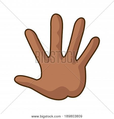cartoon hand showing the five fingers vector illustration