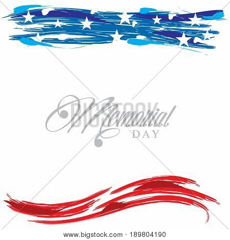 Header Footer United States patriotic design for Memorial Day on a white background