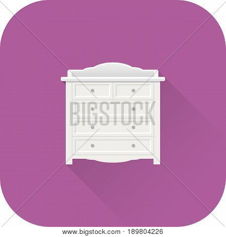 Changing table icon. Vector. Flat design with long shadow. White bureau isolated on purple background.