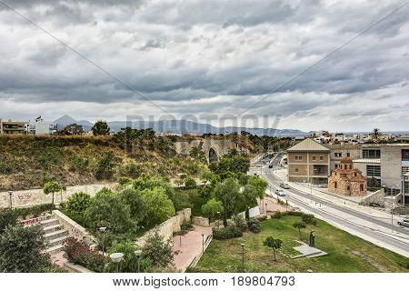 Leoforos Plastira Nikolaou near the Renaissance Park in the city of Heraklion (Crete Greece)