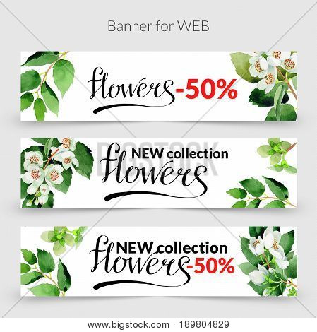 Wildflower Chubushnik promo sale web banner template in a watercolor style isolated. Aquarelle wildflower Chubushnik promo banner template for background, texture, wrapper pattern, frame or border.