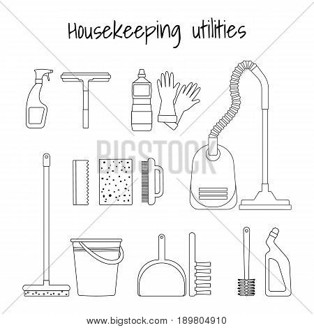 Household supplies and cleaning equipment. Outline design for web sites infographics and printed materials.