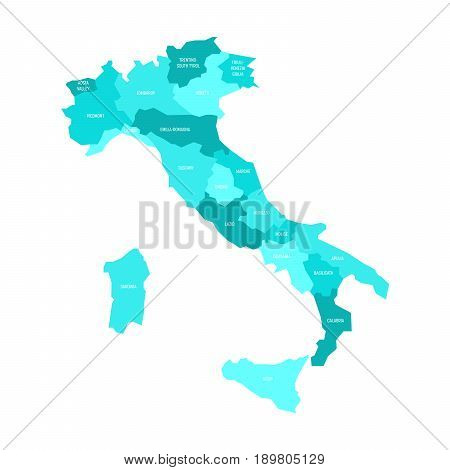 Map of Italy divided into 20 administrative regions in four shades of azure blue. White labels. Simple flat vector illustration.