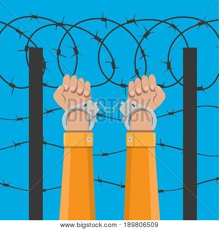 Human hands in handcuffs and background with barbed wire. Anti criminal, anti corruption concepts. Vector illustration in flat style