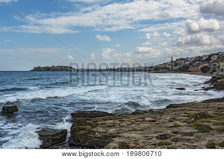 The coastline of Reus on the island of Crete overlooking the Venetian Fortress (Greece)