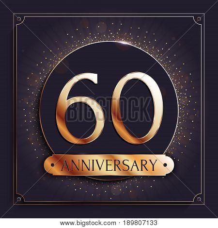 60 years anniversary gold banner on dark background. Vector illustration.
