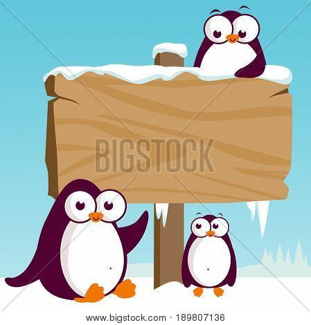 Vector illustration of a beautiful snowy landscape with happy penguins on ice.