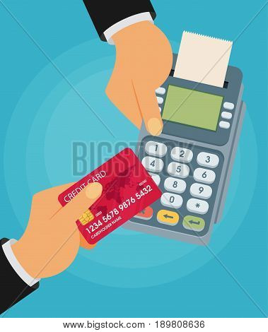 pay merchant hands credit card flat vector illustration payment