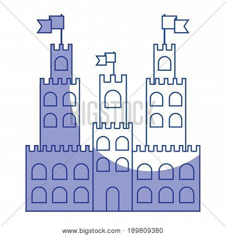 silhouette castle built on an kingdom to protect them vacation vector illustration