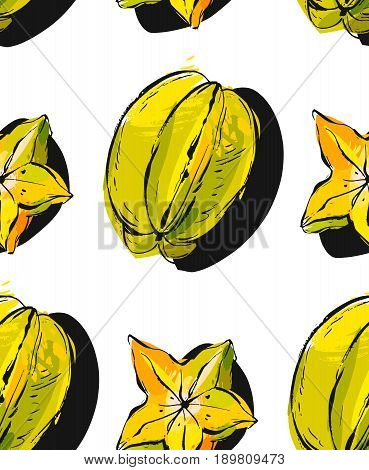 Hand drawn vector abstract unusual seamless pattern with exotic tropical fruit carambola isolated on white background.