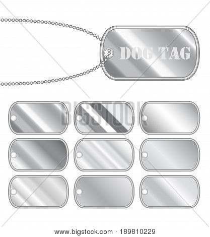 set of a steel dog tag vector on a white background