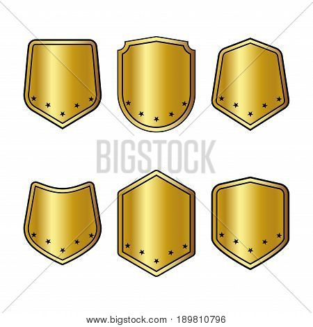 Set of golden shields with stars in trendy flat style isolated on white background. Herald logo and medieval Shield symbol for your web site design logo. Vector illustration. EPS10.