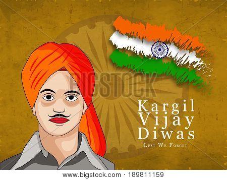 illustration of India flag and Bhagat Singh with kargil vijay diwas text