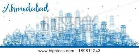 Outline Ahmedabad Skyline with Blue Buildings. Business Travel and Tourism Concept with Historic Buildings. Image for Presentation Banner Placard and Web Site.